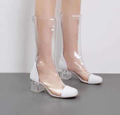 High Heels Stilvolle Transparente Stiefel mit Dicken Runden Kopf mittel mittel mittel Martin Stiefel Atmungsaktive Kunststoff - Kristall - Stiefel. fb2464