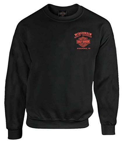 - Harley-Davidson Men's Custom Skull & Stars Fleece Pullover Sweatshirt (XL) Black