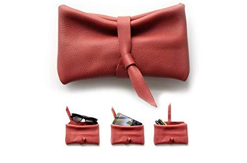 Estuche de piel muy soave rojo, estuche para gafas, estuche para bolis, funda para movil. CAMY, little pouch: Amazon.es: Handmade