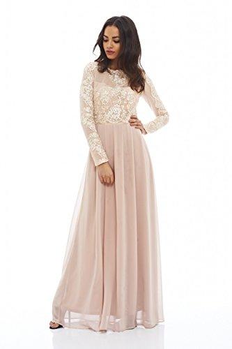 4970bd43c AX Paris Women's Long Sleeved Lace Maxi Dress(Nude, Size:6) - Import ...