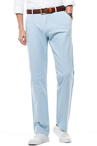 Men's Pants Regular Straight Fit Work Pants 100% Cotton MH103 Light Blue Tag 35 Mens White Slacks