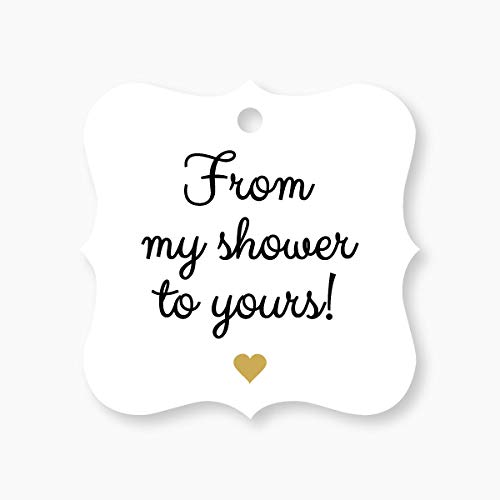 24 - Baby Shower Favor Tags, Bridal Shower Favor Tags, Golden Heart, From My Shower To Yours (FS-67-GL) -