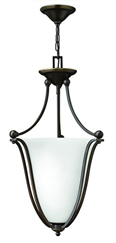 Hinkley 4663OB-OPAL Transitional Three Light Inverted Pendant from Bolla collection in Bronze/Darkfinish,