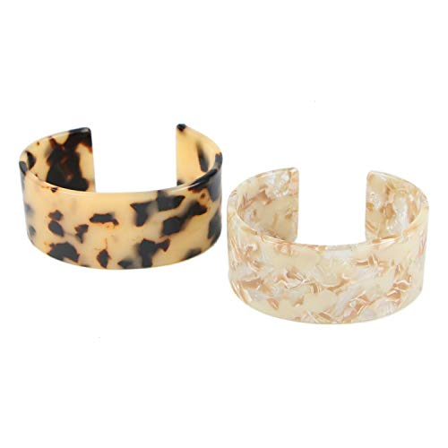 - Monrocco 2 pcs Acrylic Tortoise Wide Cuff Bangles Acetate Bangle Tortoise Leopard Bracelets for Girls