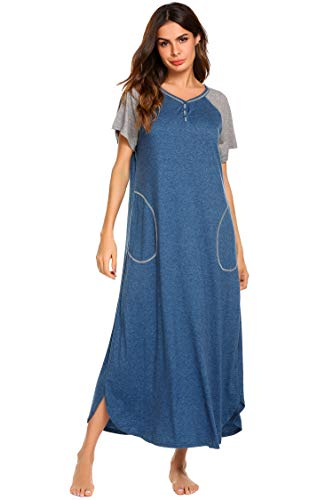 Ekouaer Loungewear, Maxi Night Gown Long Nightshirt Sleeping Dress, A-blue, XX-Large