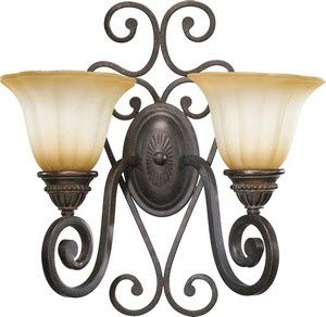Quorum 5526-2-44 Summerset - Two Light Wall Bracket, Toasted Sienna Finish with Antique Amber Scavo Glass (Amber Scavo Finish)