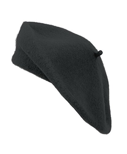Ladies Solid Colored French Wool Beret (Charcoal)