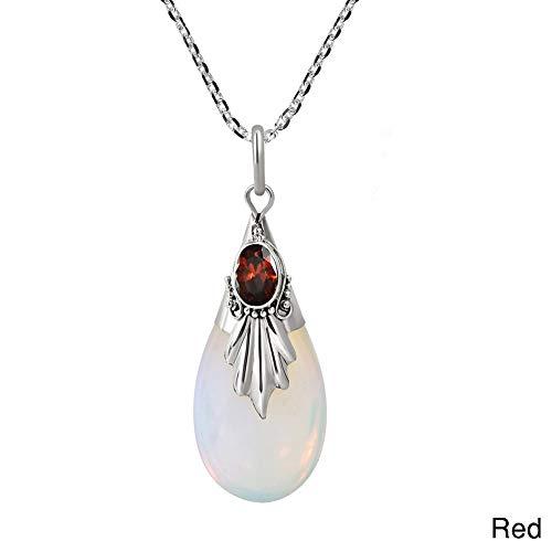 CHoppyWAVE Necklaces Women Water Drop Teardrop Pendant Necklace Faux Moonstone Chain Party Jewelry - ()
