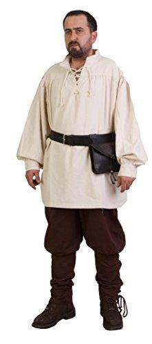 Hermes Medieval Viking LARP Pirate Cotton Man Shirt - Made in Turkey-NAT-XL]()