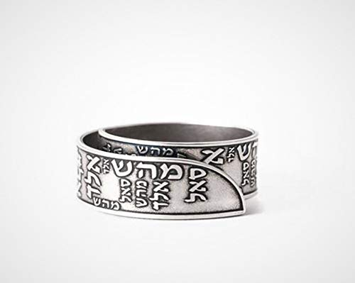(Kabbalah ring, 72 names of god Jewish ring, Unisex 925 sterling silver plated open adjustable ring, Handmade Israeli Hebrew Faith Spiritual Jewelry gift for men and women)