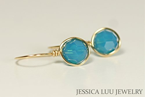Gold Blue Earrings with Caribbean Blue Opal Swarovski Crystals Rose or Yellow Gold Wire Wrapped (14k Gold Caribbean Hook)