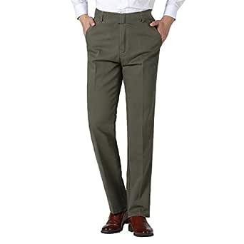 Pantalones de Trabajo de Hombre, Negocio Color Llano Casual Grande ...