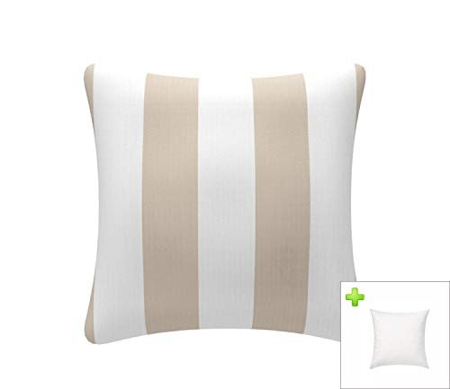 FBTS Prime Outdoor Decorative Pillows with Insert Beige and White Stripe Patio Accent Pillows Throw Covers 18x18 Inches Square Patio Cushions for Couch Bed Sofa Patio Furniture (Beige Pillows Accent)