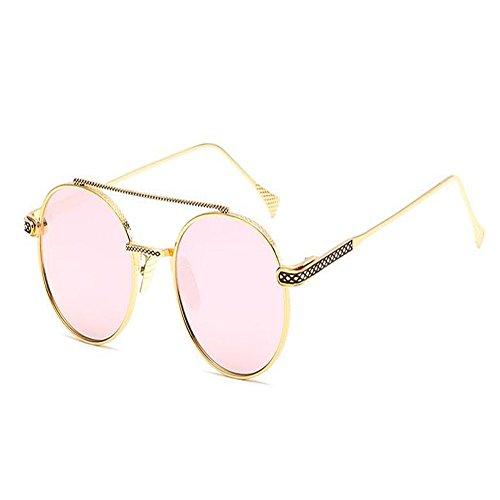 Clásico Redondas Hombre Nariz Dorado o Espejo UV400 Moda Marco de Unisex sol Mujer Vigas Gafas Rosa Xinvision Metal Vintage w7BatFqgx