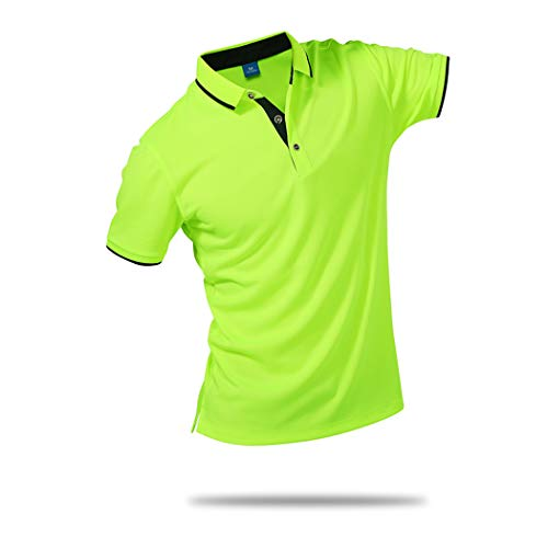 SanVera17 Unisex Casual Classic Solid Color Polo Shirts Short Sleeve Quick-Dry T-Shirt Fluorescent Green US - Jersey Polos Multi Color Stripe
