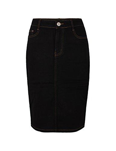 Fraternel jupe jeans femme longueur genou Noir