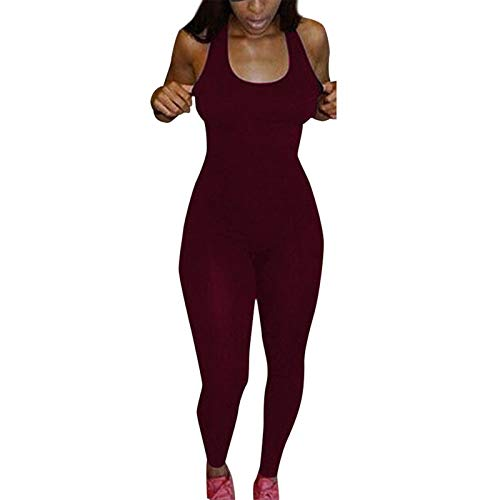 Thenxin Womens Tank Bodysuit O-Neck Sleeveless Bodycon Jumpsuit Solid Color Sport Workout Rompers(Red,XL)