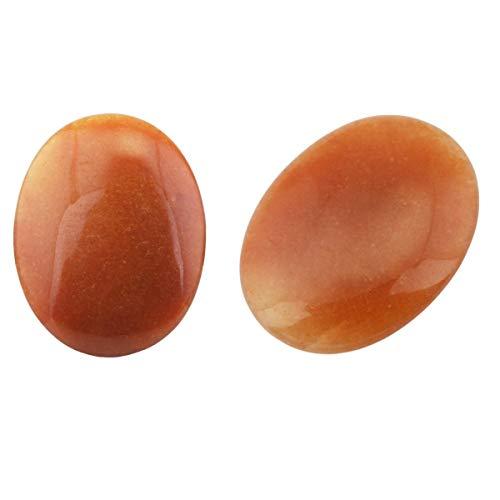 "SUNYIK Polished Tumbled Palm Stone, Pocket Worry Stones, Healing Power Crystal Set, Oval Red Aventurine 1.7"", Pack of 2"