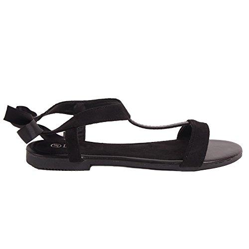 Sandales nus satiné ruban femme aspect à Noir forme pied Primtex daim d1gYqxd