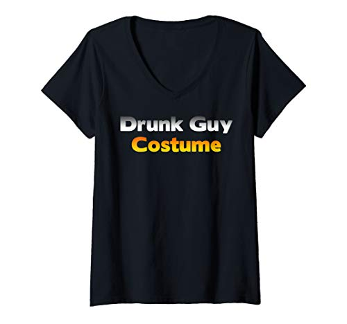 Low Budget Halloween Costume Ideas (Womens Funny Ugly Low Budget Drunk Guy Halloween Costume Joke Gift V-Neck)