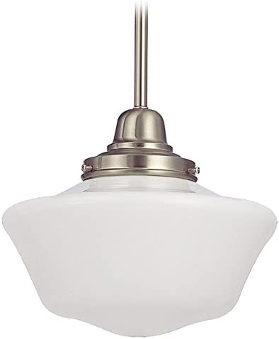 10-Inch Satin Nickel Schoolhouse Mini-Pendant Light