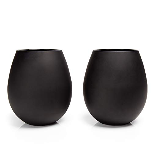 Big Betty - Matte Black Stemless XL Premium Jumbo Wine Glass Set - Includes 2 Glasses - Each Holds a Whole Bottle of Wine