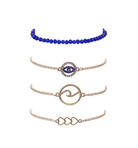 Blue Bead Chain Devil's Eye Bracelet Set