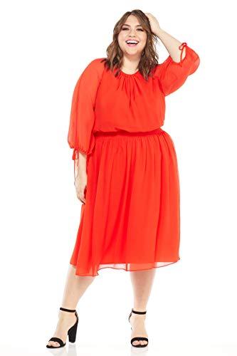 - Maggy London Plus Size Women's Gauze Chiffon Smocked Waist Dress, red/Orange, 18W