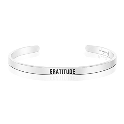 Gratitude Jewelry Personalized Cuff Bracelets Engraved Bangle Gratitude Journal Gifts for Her