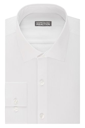- Kenneth Cole Reaction Men's Slim Fit Textured Stripe Solid Spread Collar Dress Shirt, White, 18