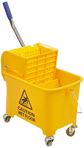Mind Reader Commercial Mop Bucket - with Down Press Wringer - 22 Quart Capacity - Yellow - MOPT20-YLW (Renewed)