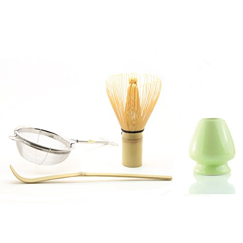 Tealyra - Green Matcha Tea Ceremony Gift Set - Bamboo Whisk & Scoop - With Sifter and Holder - Ceremonial Grade Complete Matcha Start Up Kit 4 items