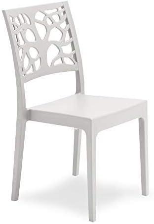 Teti - Silla blanca, moderna, de polipropileno, para cocina, salón ...