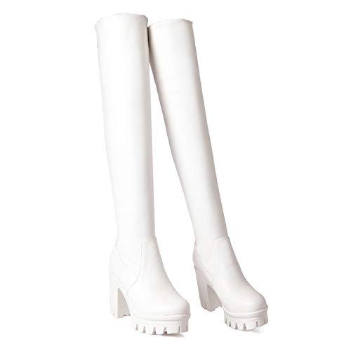 con Elegante e Plateau Scarpe Blocco e e 5cm Donna Cerniera Stivali a 9 Moda Bianco con Inverno Ginocchio sopra Tacco YE zFaqw