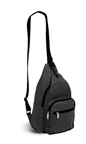 (Rebel Bottle Sling Grey Canvas Insulated Wine or Water Bottle Bag)