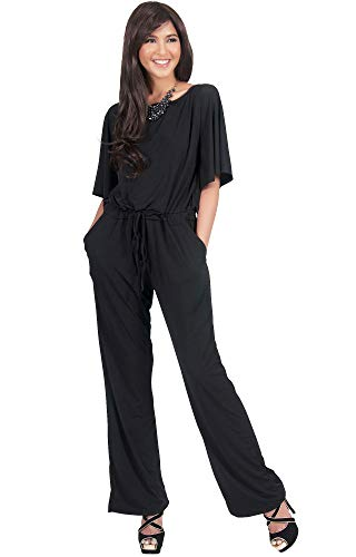 KOH KOH Plus Size Womens Short Sleeve Long Pants One Shoulder Cocktail Casual One Piece Pockets Jumpsuit Jumpsuits Pant Suit Suits Romper Rompers Playsuit Playsuits, Black 2X 18-20