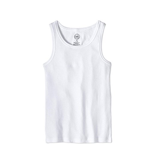 Ribbed Girls Top - Wonder Layering Tank Top for Girls Ribbed White Cami Tee (10/12 Large, White)