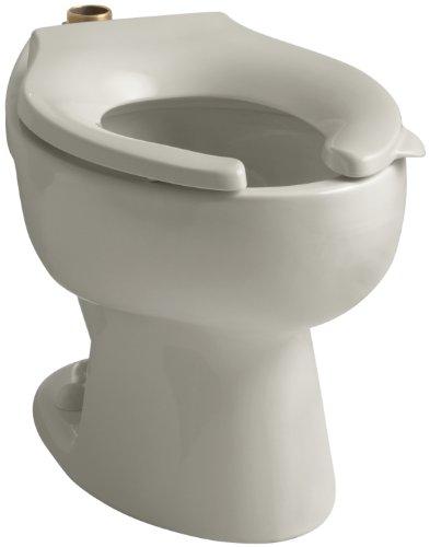 - Kohler K-4350-G9 Wellcomme Elongated Toilet Bowl with Top Spud, Sandbar