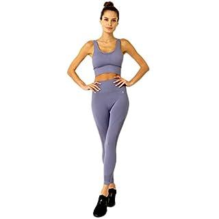 Savoy Active 2 Piece Workout Set Mesh Seamless High Waist Compression Leggings with Cutouts + Sports Bra Crop Top for Women, Grey, Medium