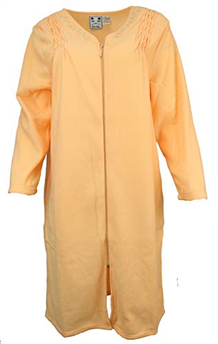 Sinderella Sutton Women's Terry Zippered Cover-up Robe with Pockets, Long Sleeves (Large, Smocked Tangerine)