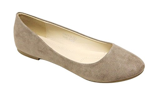 Leather Toe Suede - Bella Marie Stacy-12 Women's round toe suede leather slip on boat ballet flat shoes Taupe 8.5