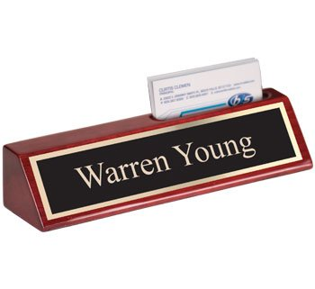 QuickTrophy Rosewood Desk Name Plate with Business Card Holder - 8