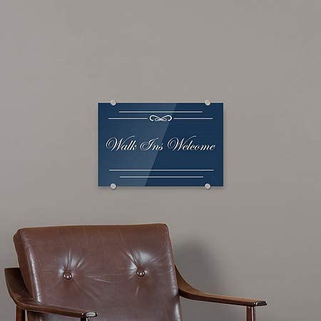 CGSignLab 2464548/_5mbsw/_24x6/_None Stripes Blue Premium Brushed Aluminum Sign Walk Ins Welcome 24x6