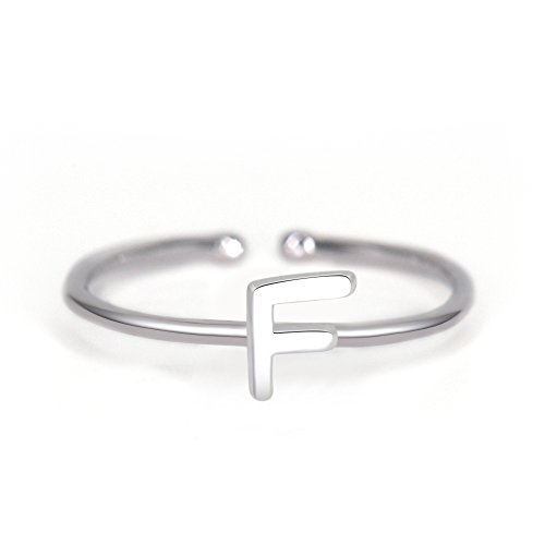 Rhohdium Plated Sterling Silver 925 Stackable Initial Ring Alphabet Letter Knuckle Rings Bridesmaid