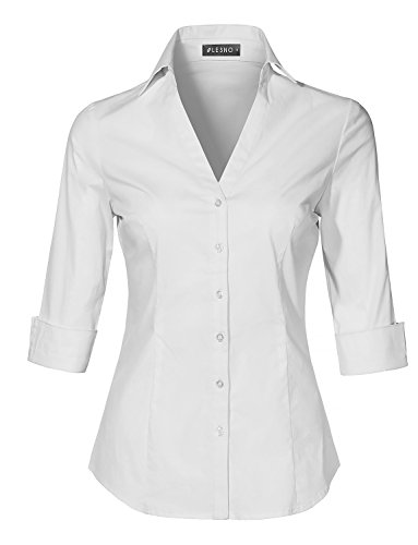 3 4 Sleeve Shirts - LE3NO Womens Roll up 3/4 Sleeve Button Down V Neck Shirt with Stretch,X-Small,L3nwt4019_white