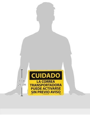 LA CORREA TRANSPORTADORA PUEDE ACTIVARSE SIN PREVIO AVISO Rigid Plastic NMC SPC130RB OSHA Sign Legend CUIDADO Black on Yellow 14 Length x 10 Height