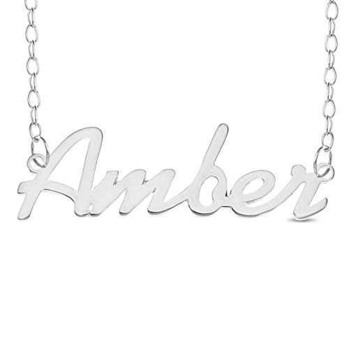 Personalised AMBER 925 Sterling Silver Necklace Nameplate Pendant Jewelry Gift