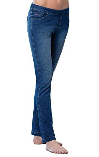 PajamaJeans Women's Petite Skinny Stretch Knit Jeans, Bluestone, Small / 4-6