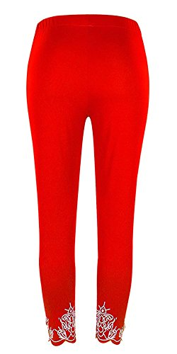 Mujer Skinny Cómodo Rot Leggins Aireado Cruzadas Pantalon Elegantes Correas Pants Elastisch Adelina Tiempo Señora Bund Retro Pantalones De Libre Verano 58wHxpxP