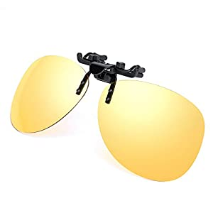 Yellow Night Vision Retro Polarized Clip-on Flip-up AVIATOR Plastic Sunglasses Driving Traveling